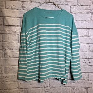 Coldwater creek 1X blue stripe cotton shirt 2412